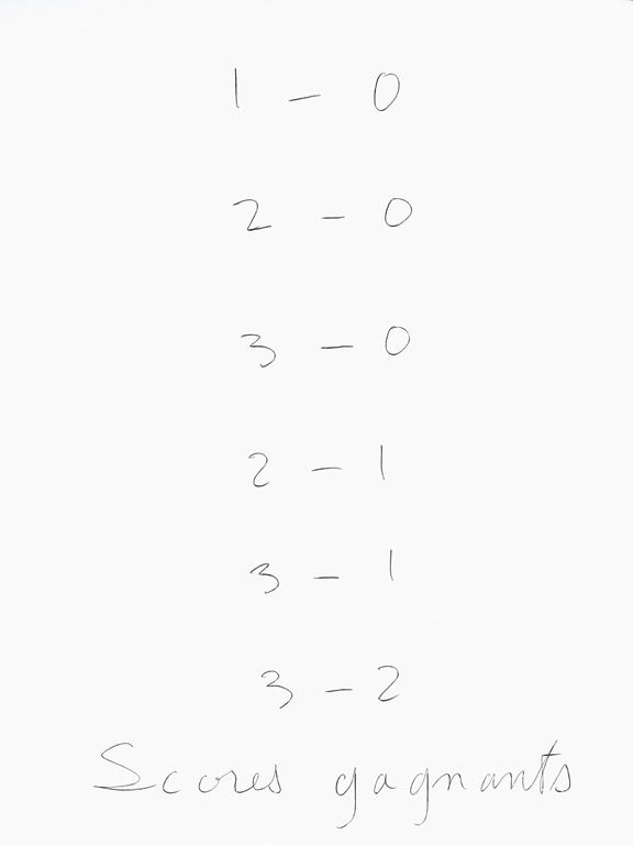 Claude Closky, 'Scores gagnants [Winning scores],' 1998, black ballpoint pen on paper, 35 x 514 cm (20 sheets 35 x 25,5 cm).